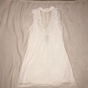 White Lace, High Neck Dress
